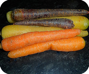 Orange, Yellow, Purple Carrots